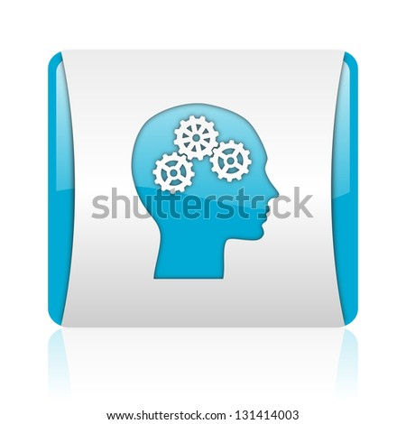 head blue and white square web glossy icon - stock photo