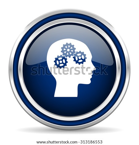 head blue glossy web icon modern computer design with double metallic silver border on white background with shadow for web and mobile app round internet button for business usage  - stock photo