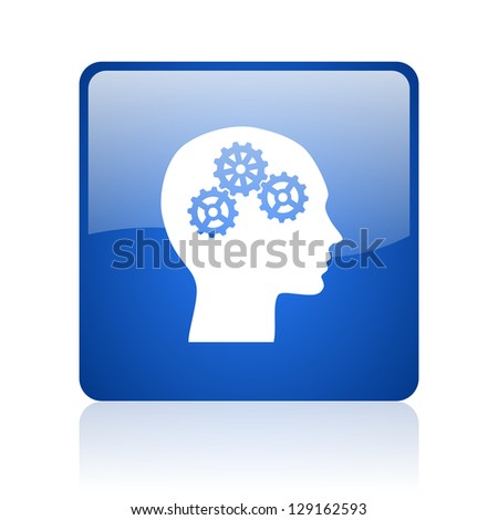 head blue square glossy web icon on white background - stock photo