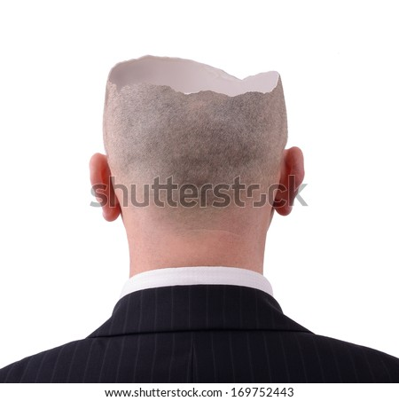 Head crack open to reveal inside - stock photo