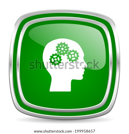 head glossy computer icon on white background - stock photo