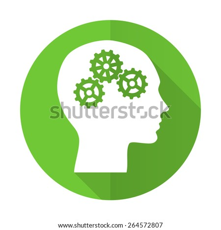 head green flat icon human head sign