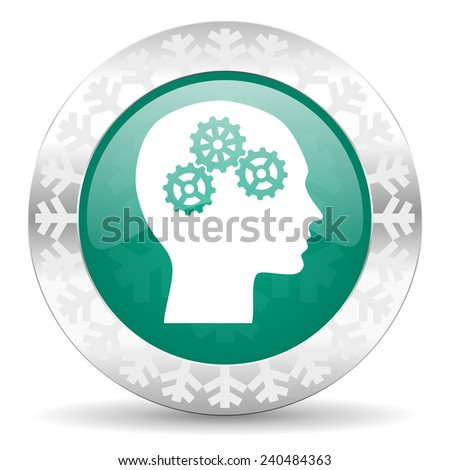 head green icon, christmas button, human head sign  - stock photo