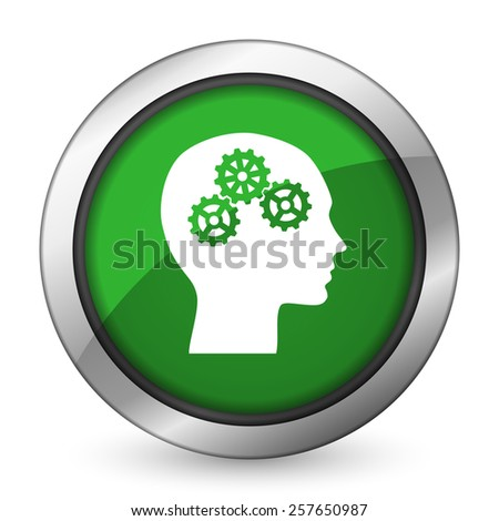 head green icon human head sign  - stock photo
