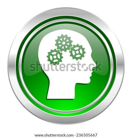 head icon, green button, human head sign  - stock photo