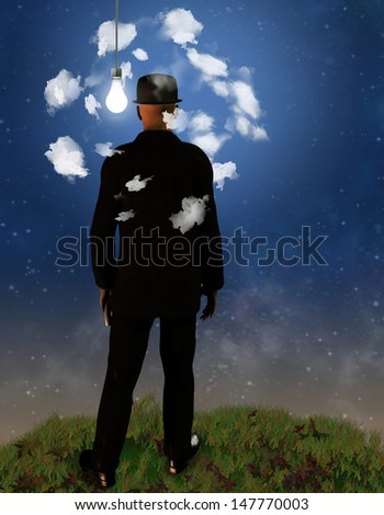 Head in the Clouds - stock photo