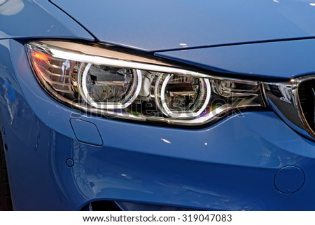 Head lights of modern car made in Europe. - stock photo