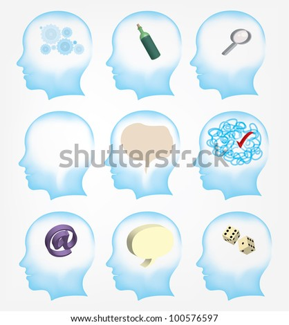 Head.Man Learn to think - stock photo