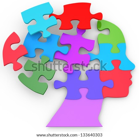 Head of a woman as mind thought problem jigsaw puzzle pieces - stock photo