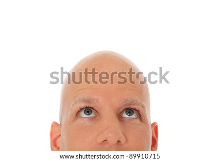 Head of bald man looking up. All on white background. - stock photo