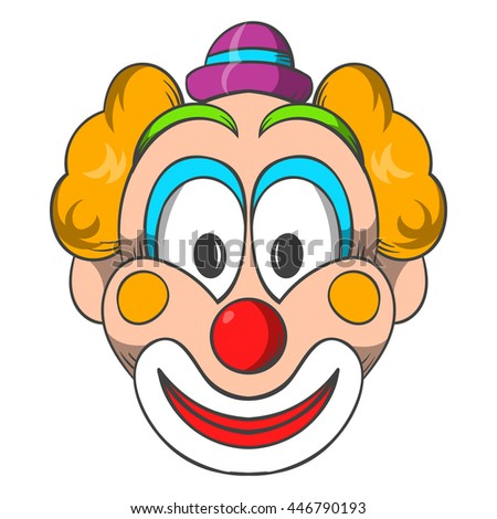 Head of clown icon in cartoon style on a white background - stock photo