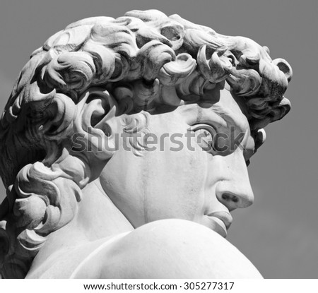 head of David statue by  Michelangelo, Florence, Toscana, Italy, Europe - stock photo