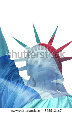 Head of Lady Liberty in New York City. (USA) Dual exposure with French flag over the statue. - stock photo
