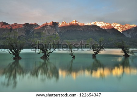 Head of Lake Wakatipu at Dusk - stock photo