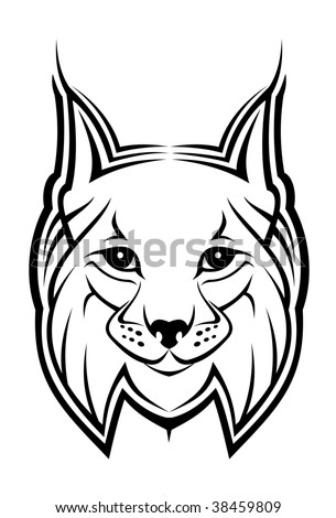 Head of lynx - abstract emblem. Vector version also available - stock photo