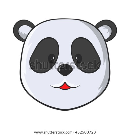 Head of panda bear icon in cartoon style on a white background - stock photo
