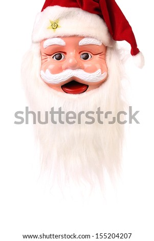 Head of Santa Claus. Isolated on a white background. - stock photo