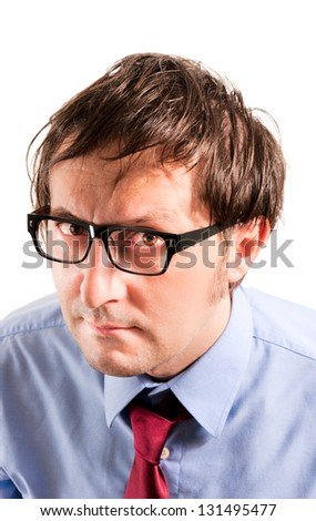Head of the angry businessman isolated on white background - stock photo