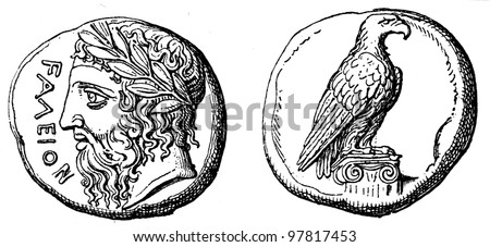 """Head of Zeus, the eagle, Didrahmon Elidsky, about 400 BC - an illustration to articke """"Coins"""" of the encyclopedia publishers Education, St. Petersburg, Russian Empire, 1896 - stock photo"""