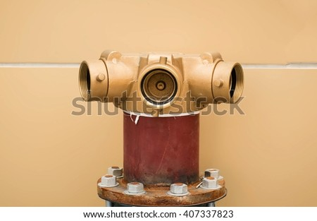 head pump fire fighting on the floor,head of water for fire-fighting. - stock photo