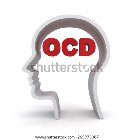 Head shape with red ocd text or Obsessive compulsive disorder anxiety symptoms concept isolated over white background - stock photo