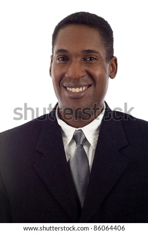 Head  shot of a smiling African American businessman isolated white background - stock photo