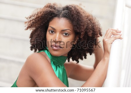 Head shot of an attractive ethnic model - stock photo
