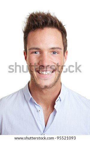 Head shot of attractive smiling young business man - stock photo