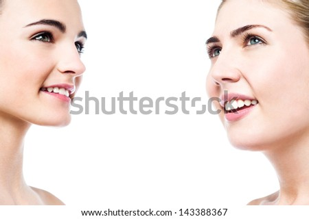 Head shot of beautiful young girls with clean skin. - stock photo