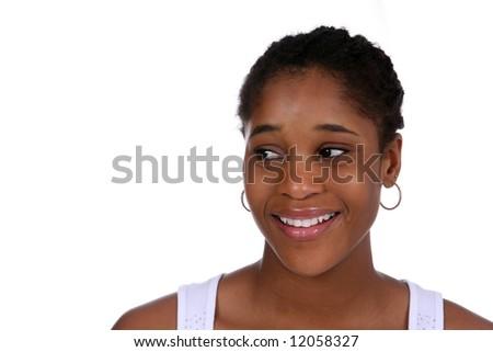 Head shot of pretty teen - stock photo