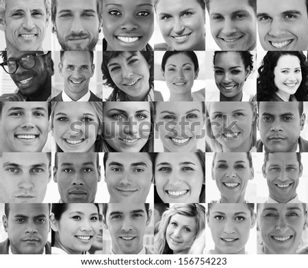 Head shot profile pictures in black and white of smiling applicants - stock photo
