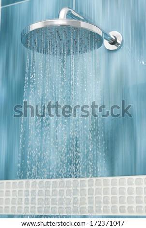 Head shower while running water  - stock photo
