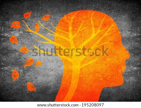 head silhouette and tree orange on black digital illustration - stock photo
