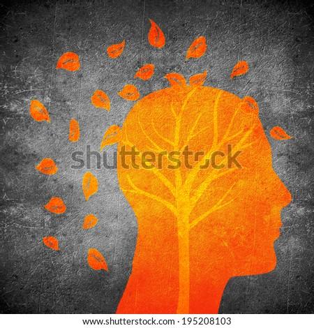 head silhouette and tree orange on black digital illustration - stock photo