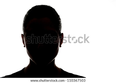 head silhouette with face in black - stock photo