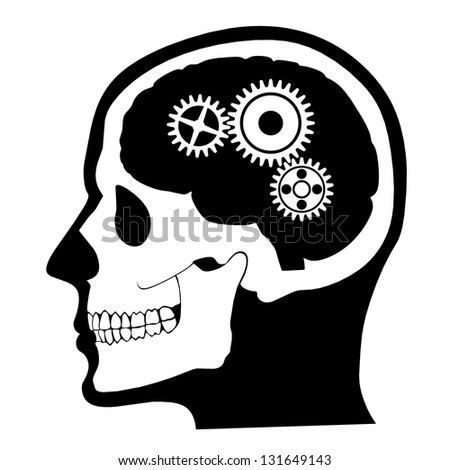 head,skull,brain profile with gears /silhouette illustration - stock photo