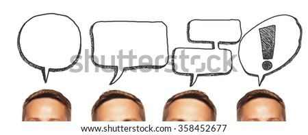 Head-thinking man. Concept the idea and thought. Communication. - stock photo