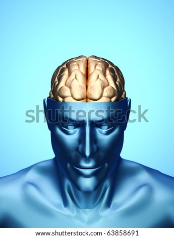 Head with brain - this is a 3d render illustration - stock photo