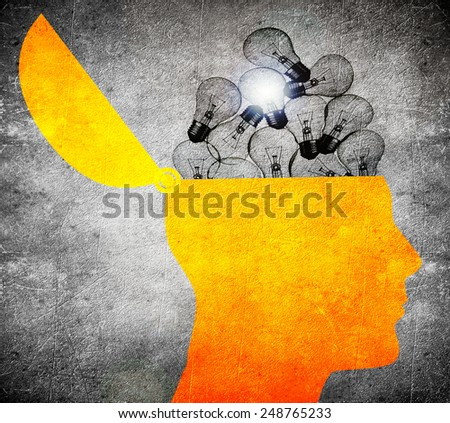 head with bulbs  digital illustration - stock photo