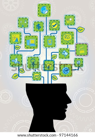 head with ecological technology tree - stock photo