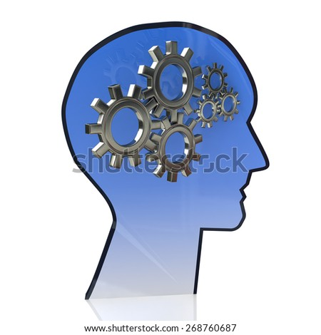 Head with gears inside as a symbol work of brain - stock photo