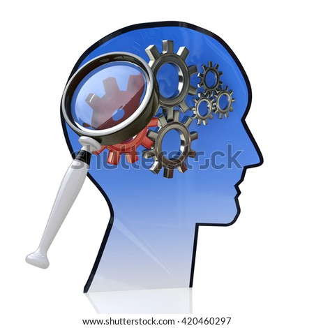 Head with gears inside as a symbol work of brain and magnifying glass in the design of the information related to the ideas and technologies. 3d illustration - stock photo