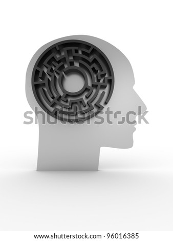 Head with labyrinth. 3D image - stock photo