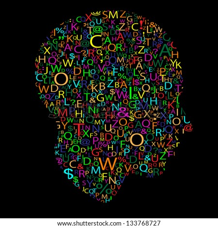 head with letters, - stock photo