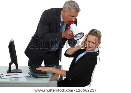 Head with megaphone shouting - stock photo