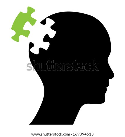 Head with one green piece of missing puzzle, raster version. Abstract business concept design. - stock photo