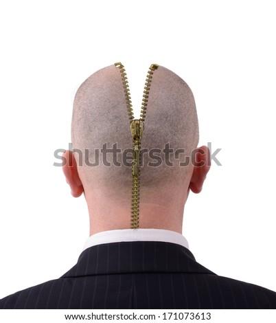 Head zipped open to reveal inside - stock photo