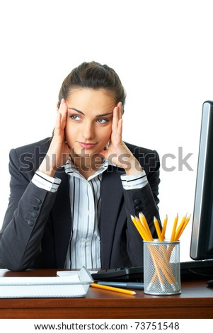 headache concept, attractive overworked female office worker holds her head, isolated on white background - stock photo