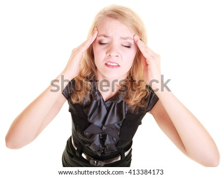 Headache, migraine and stress. Stressed businesswoman worried woman girl suffering from head pain isolated on white. - stock photo