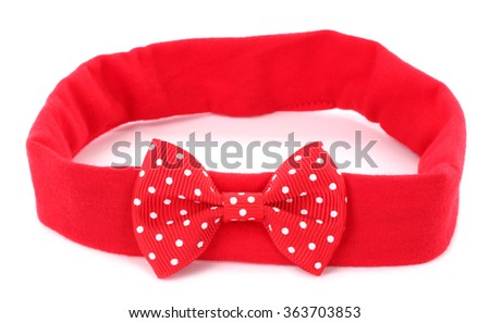 Headband with red dotted hair bow tie - stock photo